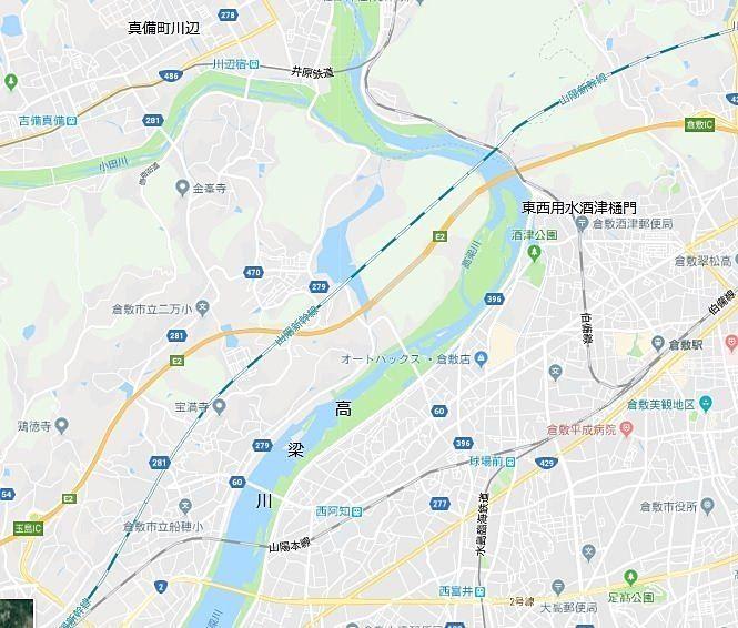 岡山県を南北に流れる第1級河川 高梁川(たかはしがわ),小田川,2018年西日本豪雨で氾濫,真備町川辺が水に浸かる
