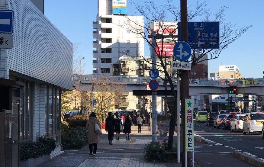 岡山駅西口から清心町方面へ