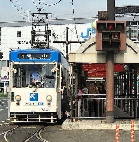いよいよ岡山駅構内へ路面電車が