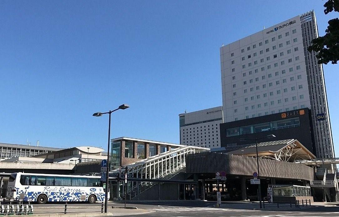 岡山駅周辺の再開発が進められています,岡山駅西口,さんすて,西口の正面玄関