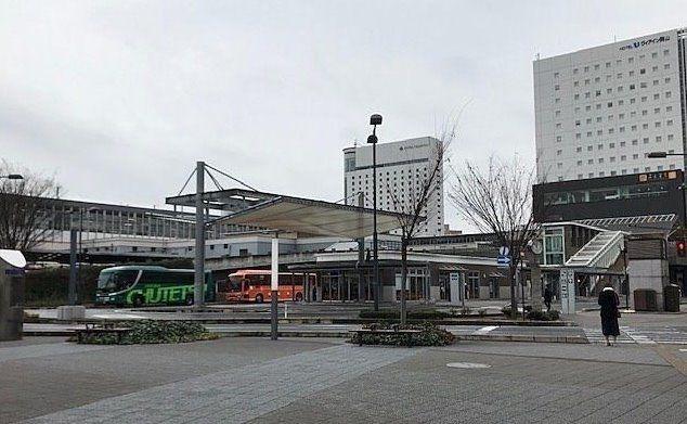 岡山駅西口バスのりば,空港リムジンバス発着,センター試験(岡山大学受試験会場)臨時バスのりば