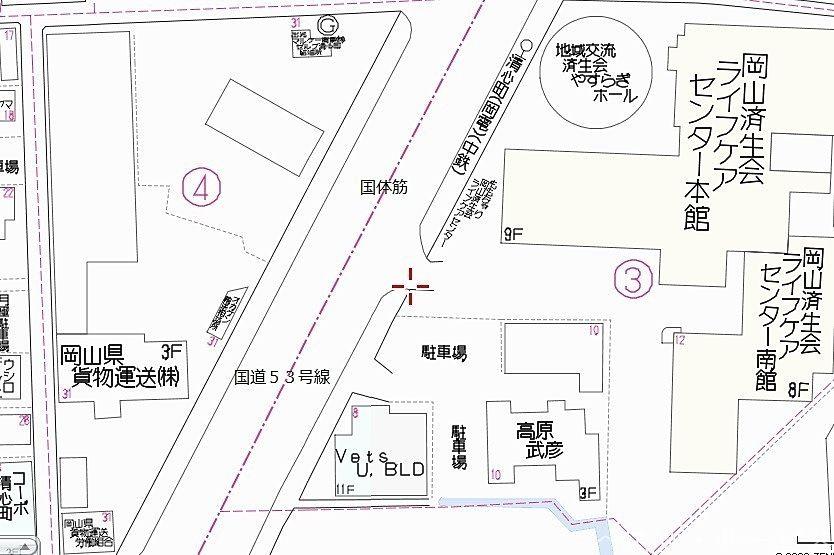 岡山済生会ライフケアセンター向い,国体筋,国道53号線沿い,オカケン本社ビル建設