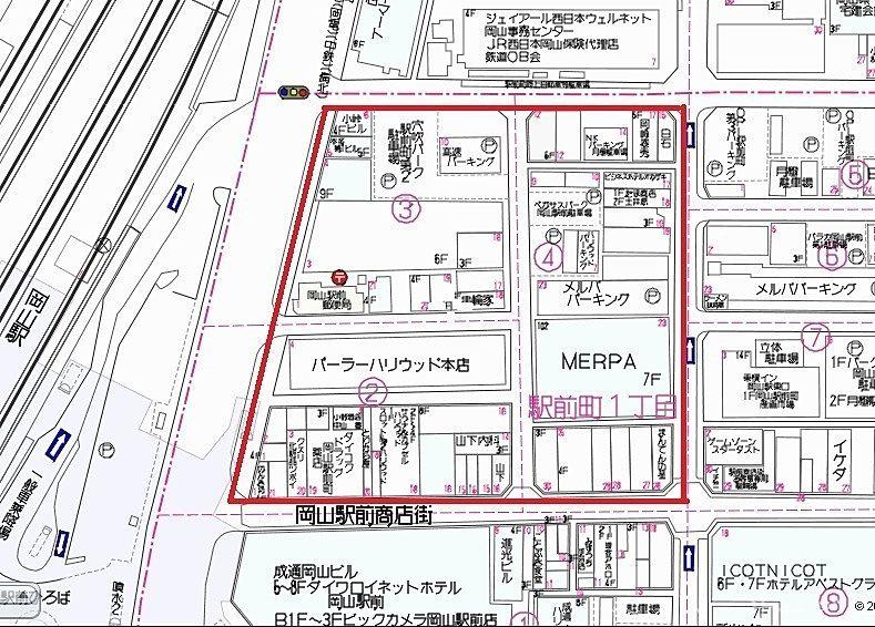 岡山駅前町一丁目再開発,メルパ,パーラーハリウッド本店,みよしの