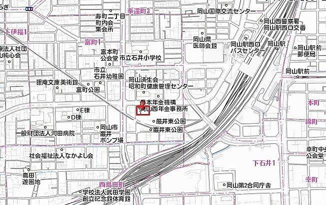 JR岡山駅西口から徒歩8分