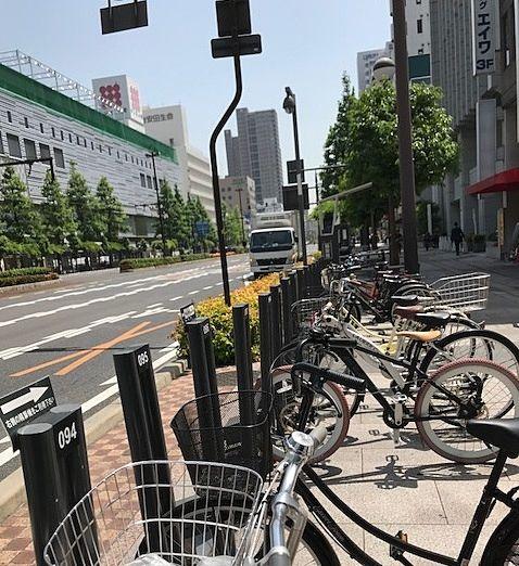 岡山駅前(東口)桃太郎大通りにも駐輪場が整う