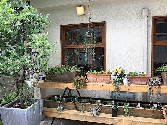 グリコアパートの店先の様子,観葉植物がお洒落です